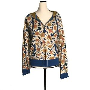 Lucky Brand Floral Boho Zip Sweatshirt size L